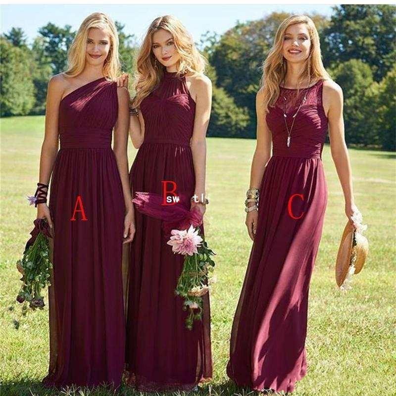 ブルゴーニュの花嫁介添人ドレス2020ラインロングシフォン混合スタイル結婚式のパーティードレス女の子夏のボボメイドの名誉ガウン
