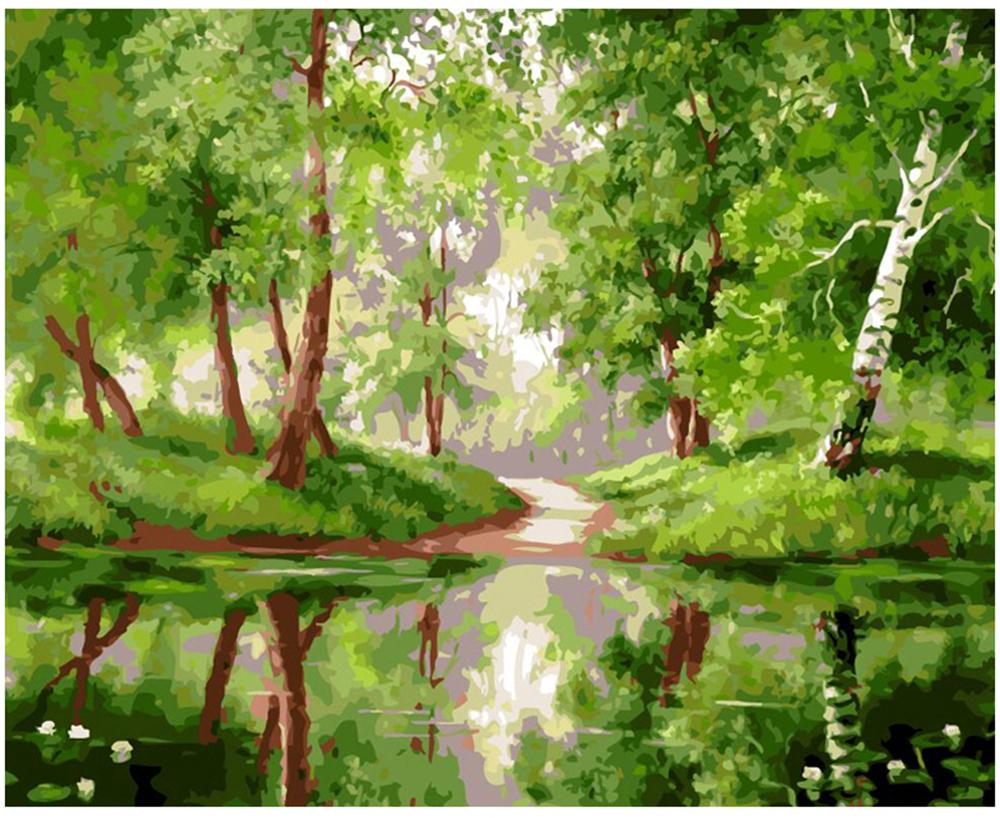 """Adult Hand Painted DIY Painting By Numbers Oil Paint Kits Paint-Green riverside woods 16""""x20"""""""