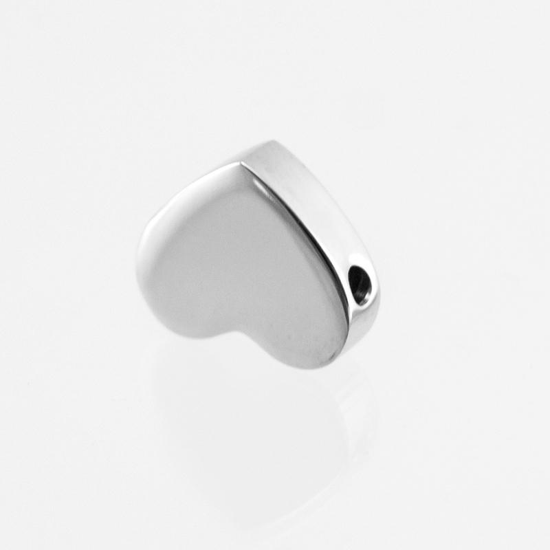 100 ٪ الفولاذ المقاوم للصدأ القلب الشريحة الخرزة باندورا سحر المعادن الخرز الفضاء لصنع المجوهرات عالية مصقول 10PCS بالجملة