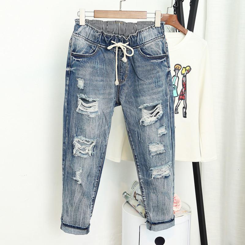 Jeans Femme Frauen Hosen-Sommer Ripped Boyfriend-Jeans für Frauen arbeiten Weinlese-High Waist Jeans 5Xl Pantalones Mujer Vaqueros Q58