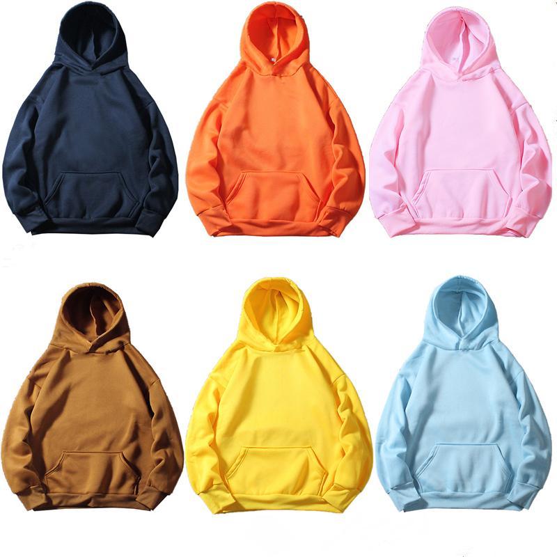 10 لون عارضة أزرق اللون البرتقالي والأرجواني الأخضر قلنسوة الصلبة ارتداء اللون شارع بلوزات سكيت رجل / إمرأة البلوز هوديس Y200610