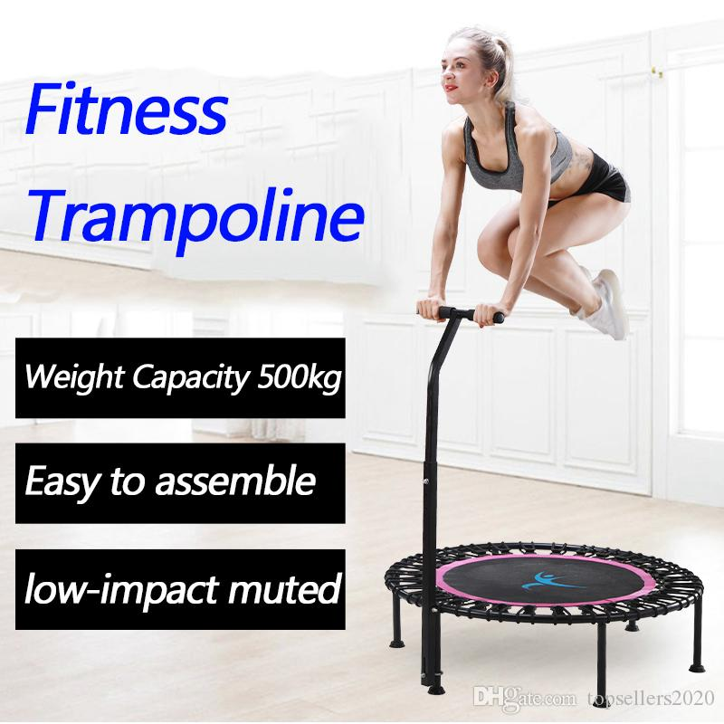 """40"""" Fitness trampoline Silent Mini with Adjustable Handle length Adults Kids indoor GYM Bungee Rebounder Jump Trainer Workout"""