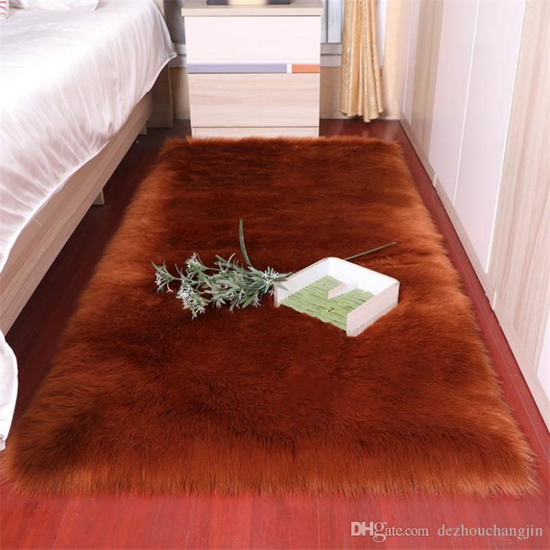 Soft Artificial Sheepskin Carpet Cushion Cover Bedroom 100*180cm Blanket Warm Carpets Long Hair Fur Floor Mat