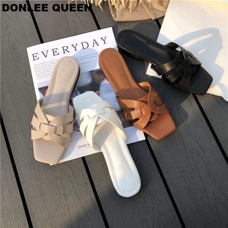 DONLEE QUEEN 여성 브랜드 슬리퍼 여름 슬라이드 오픈 발가락 평면 캐주얼 신발 레저 샌들 여성 비치 플립 큰 크기 (41) 퍼