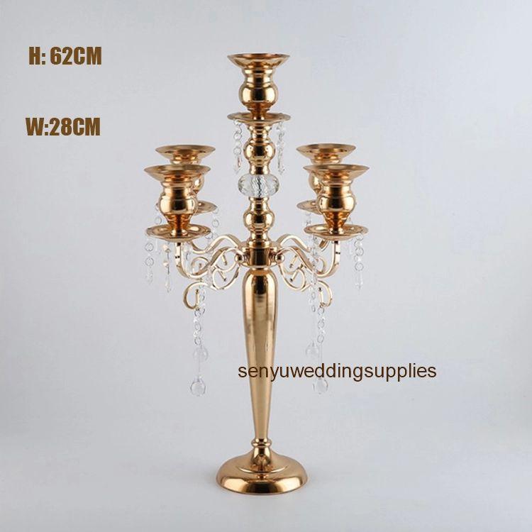 New style 5 arms gold metal candelabra for wedding centerpiece senyu0351