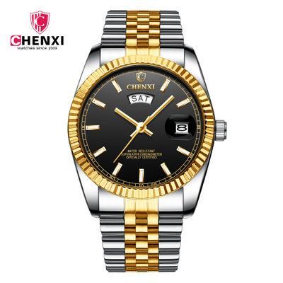 CHENXI 2019 Nueva marca de fábrica superior de negocios reloj de acero correa de reloj de pulsera Calendario de manera masculino impermeable cuarzo reloj luminoso