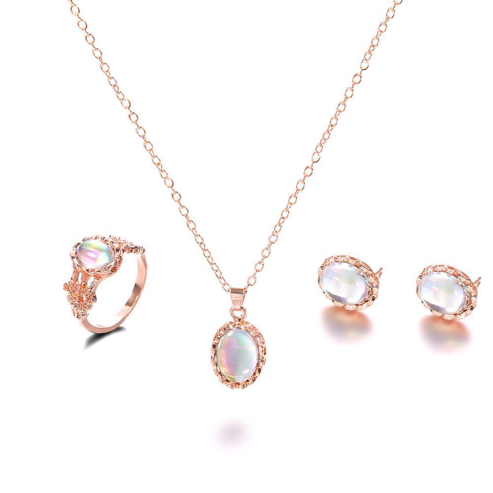 Joyería del anillo de los pendientes del collar nuevo de la manera 18K del Rhinestone del cristal plateado pendiente de la joyería Conjunto de boda para el amor envío