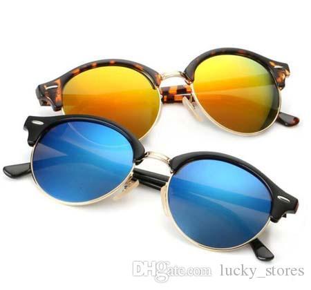 Moda Classic Round Sunglasses Vintage Mulheres Homens Designer Sun Óculos Marca Clube Óculos para Senhoras 4246 UV400 com casos