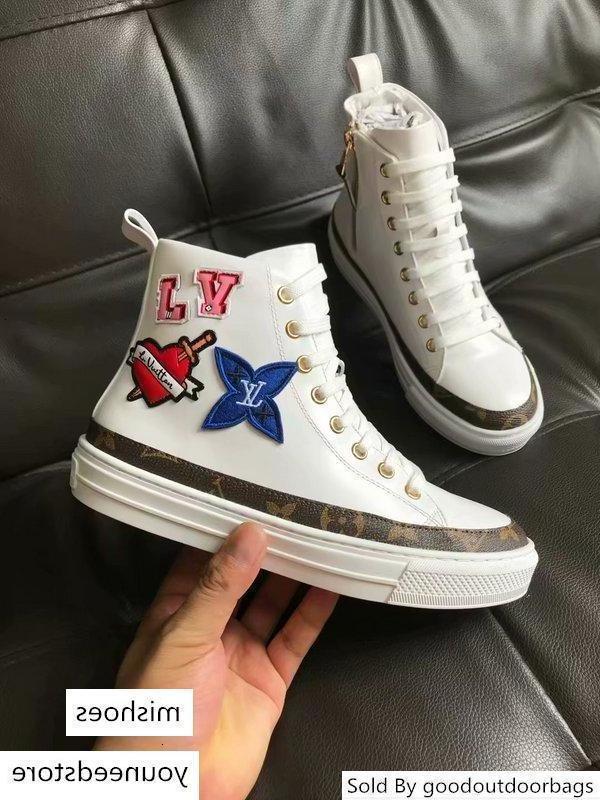 Top qualité Luxe femmes Lettre d'impression Badge Chaussures Casual cuir véritable numérique exclusif Black Heart Sneaker Boot 1a4mzb