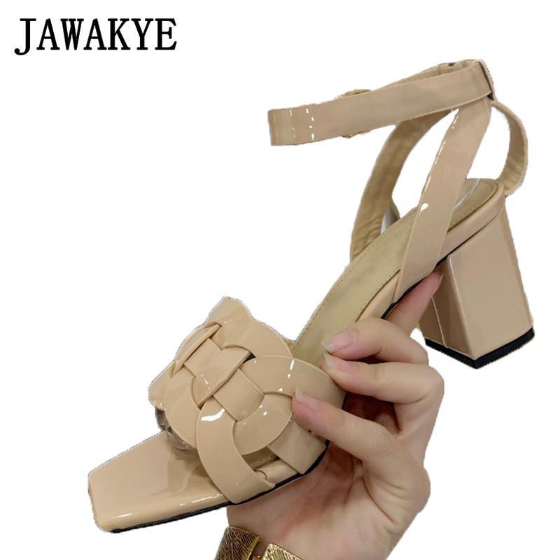 Square toe Chunky high heel Sandals Women Cross braid Nude green Real Leather Summer Sandals ladies runway shoes Mules heels