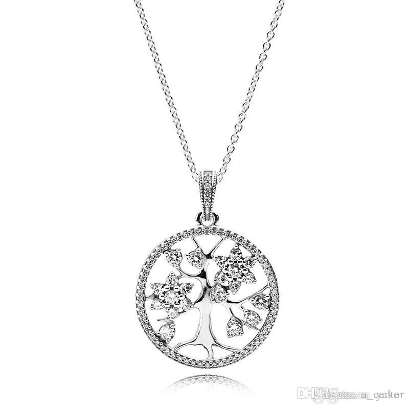 새로운 925 스털링 실버 CZ 다이아몬드 패밀리 트리 펜던트 체인 목걸이 로고 원래 상자 판도라 크리스탈 목걸이 여성 남성