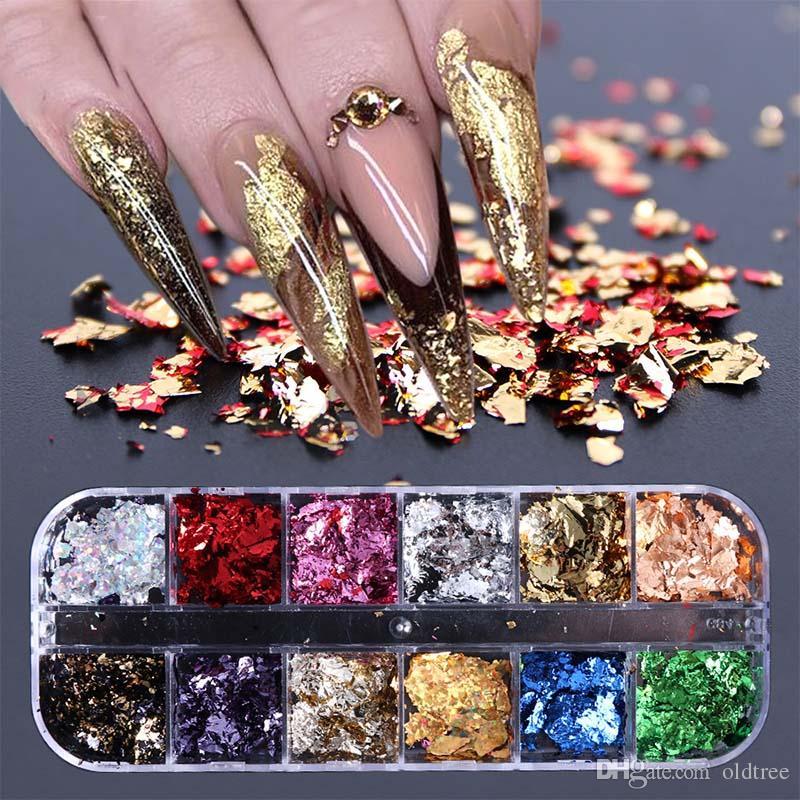 Manicure 12 Grid Nail Seailsins Paillette alluminio fiocchi irregolari in oro argento pigmento nail art decorazione specchio scintillio carta foglio di carta