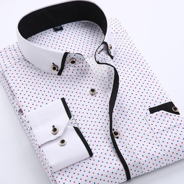 2019 Designer Mode für Männer T-Shirts Langarm Mens Dress Shirts Baumwolle Weiß-Schwarz-Hemd-Mann-Hemd plus Größe Slim Fit Homme Großhandel