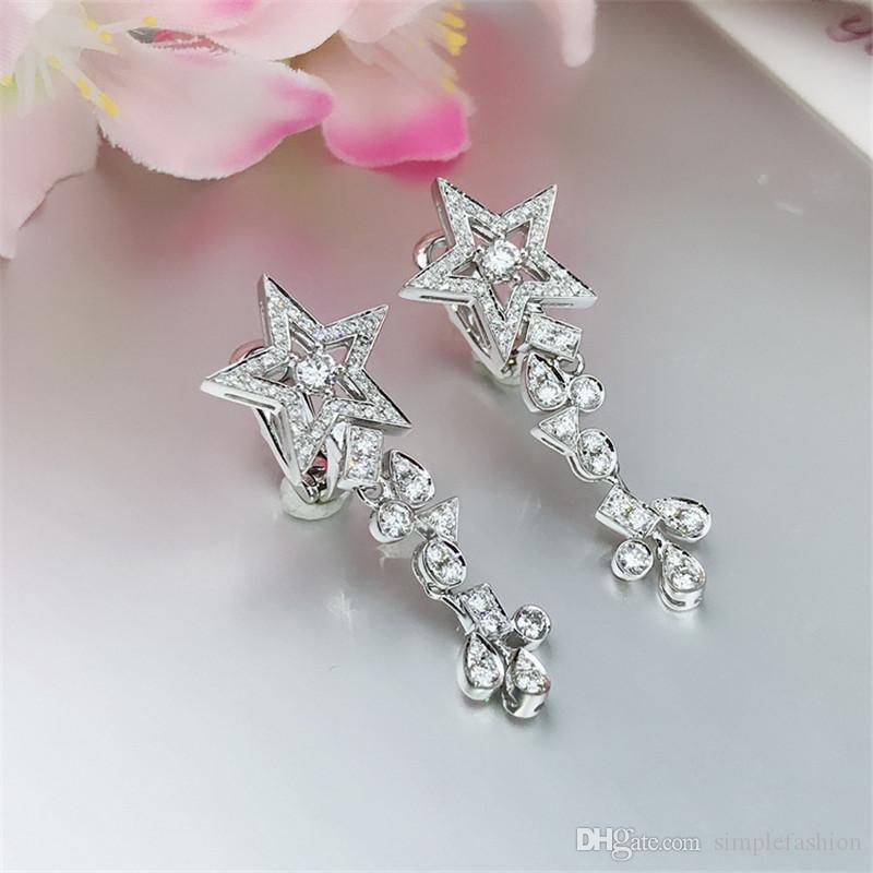 Vecalon Elegant Stern Blume Form Baumeln ohrring 5A Cz 925 Sterling silber Party hochzeit Ohrringe für frauen Schmuck Geschenk