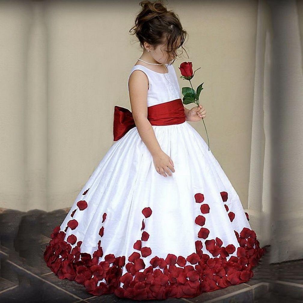 Bonito vestido da menina flor Meninas Lace Chiffon lantejoulas mangas Pageant elegante para vestidos de festa de casamento com faixa SZ 2-14