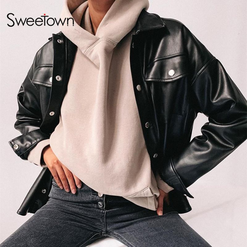Black Faux Leather Blouses Shirt Womens Casual Streetwear Covered Button Turn Down Collar Ladies Blouses Manches Bouffantes solid
