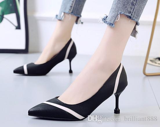 2019 Chaussures femmes au printemps et à l'automne avec nouveau style talon haut fin extrémité pointue du talon @ 3026