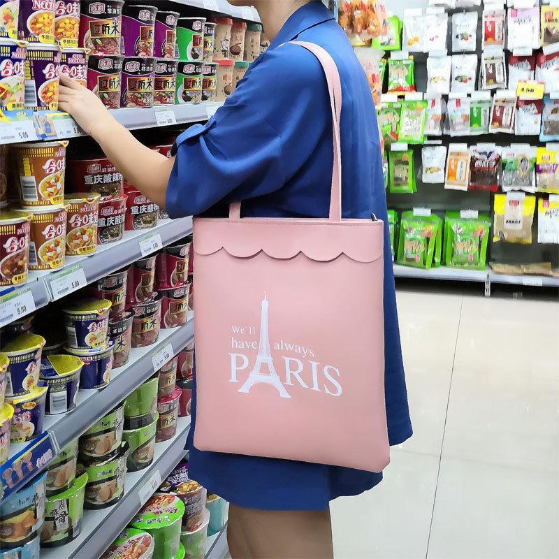 Las mujeres de la PU de mano casual de las señoras de hombro del bolso de compras plegable bolsas de playa bolsa de tela de algodón femenino del bolso