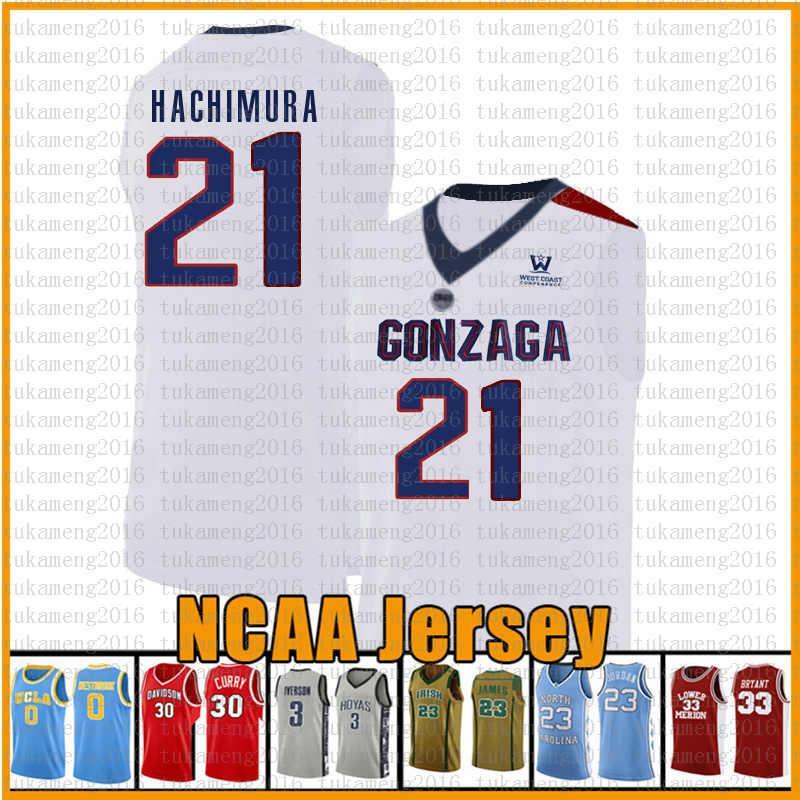 camisa branca azul 21 Rui Gonzaga Bulldogs Hachimura basquete Camisa Hachimura 12 De'Andre 15 Carmelo Anthony Hunter