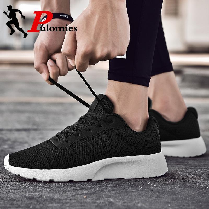 PULOMIES Лето Мужчины Повседневная обувь Женщины Спортивная обувь Шнуровка дышащая сетка кроссовки Мужчины Теннис Бег Пара