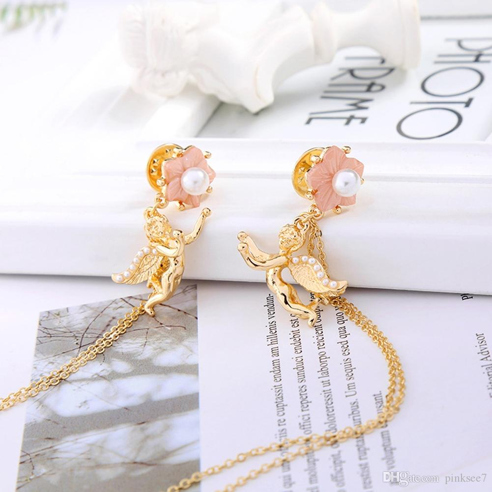 Fashion Flower Shell Pearl Angel Brooches Metal Chain Tassels Brooch Brooches Lapel Pin Shirt Collar Pin For Women Jewelry Accessories