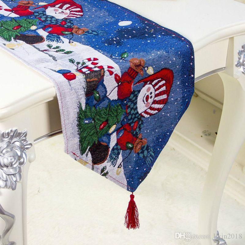 New Christmas Table Runner Cloth Art snowflake Table Tablecloth Christmas Decoration Xmas Flag Home Party Decoration