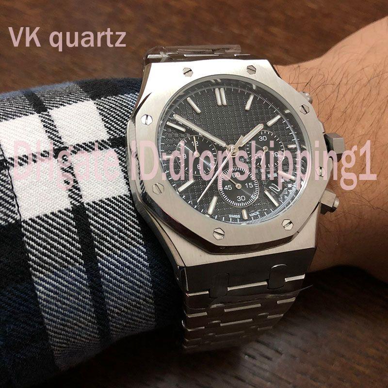 Dropshipping1-Nuevo Mejor U1 para hombre Relojes de acero inoxidable de 42 mm de alta calidad de Japón Relojes VK cronógrafo de cuarzo movimiento deportivo hombres del diseñador