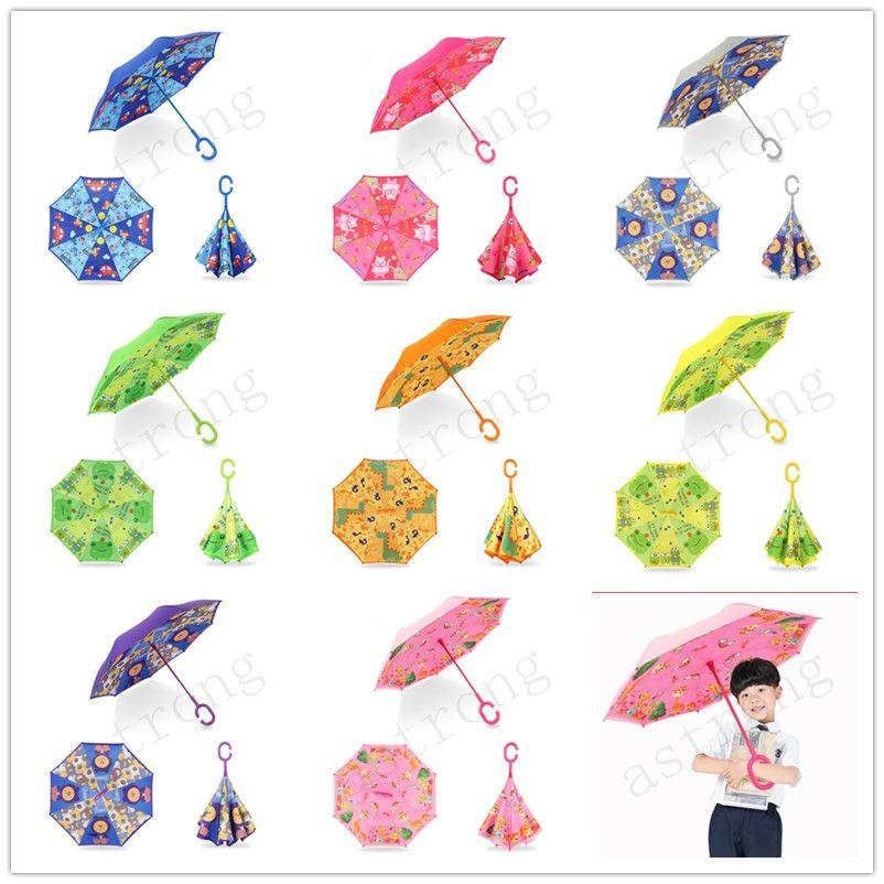 Umbrellas Kids C Handled Reverse Umbrella Double Layer Windbreak Umbrells Cartoon Animal Umbrella For Children Kids Outdoor Rain Gear A327