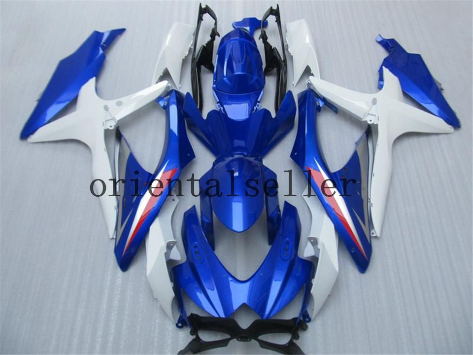 GOOD For SUZUKI GSXR 600 750 GSX R750 R600 GSXR600 08 09 10 GSX-R750 GSXR-600 K8 GSXR750 2008 2009 2010 dark blue white Fairing kit Aa18