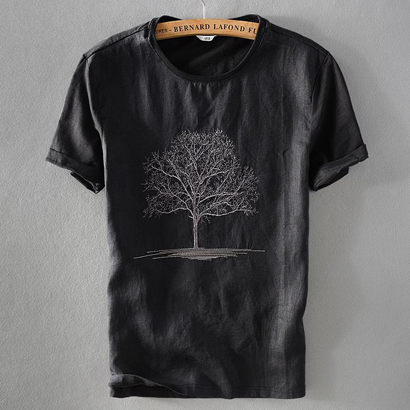 erkek yuvarlak boyun nakış tshirt 2018 Yeni varış siyah t gömlek erkekler yaz keten rahat camisa T200111 kısa kollu tişört mens keten