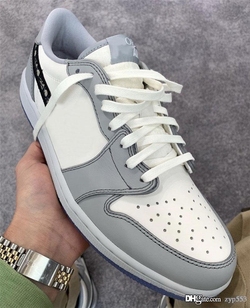 2020 Hottest autentica 2020Dior X Air 1 Low Olimpiadi lupo grigio 1S Sail Photon polvere bianca CN8608-002 Uomini scarpe da basket Sport Sneakers