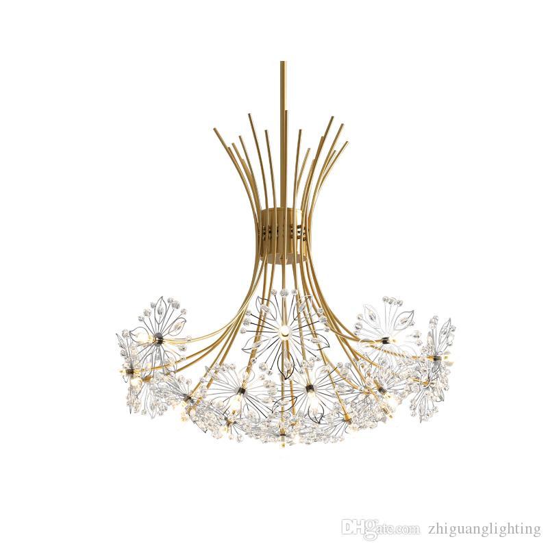 Pendente Nordic Light Crystal Dandelion Lampada a sospensione Lampada Camera da letto Atmosphere Shop Negozio di abbigliamento commerciale Ristorante Appeso lampada a sospensione