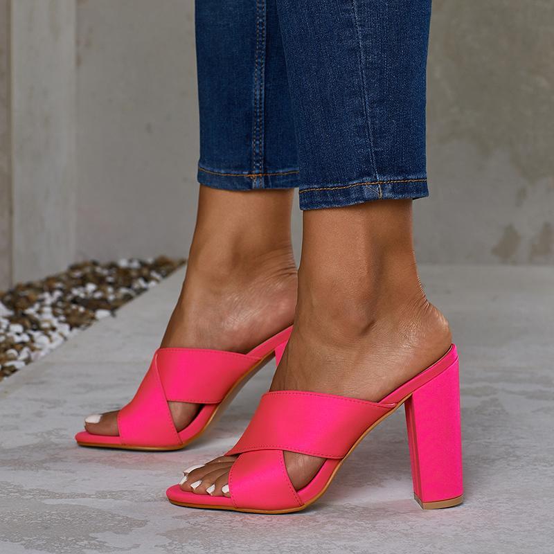 2019 más el tamaño 35-42 de verano Mujeres 11cm tacones altos Diapositivas Mujer Mulas Señora anaranjada Fetiche verde de neón sandalias de tacones de bloque