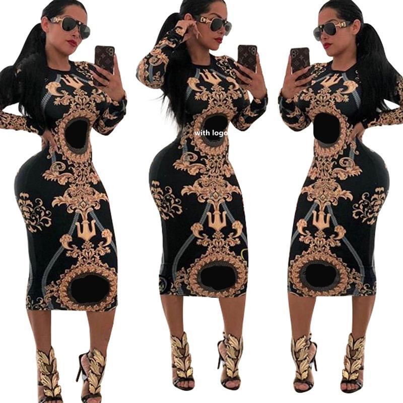 Ocasional de las mujeres del O-cuello de impresión de gran partido ajustado de manga vestido largo rayado atractivo de los vestidos de las señoras Clubwear