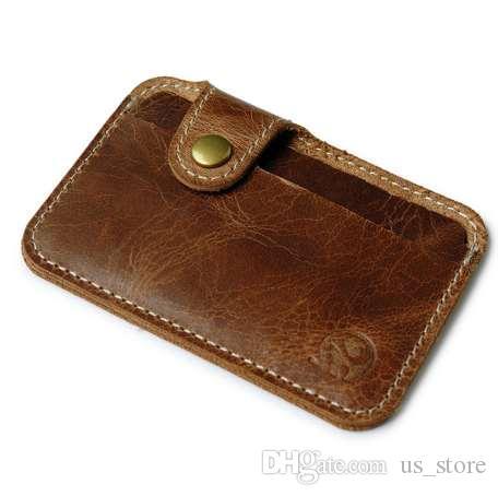 Großhandel Retro Leder Karte Brieftasche Männer Business Bank Kartenhalter Dünne Kreditkarte Fall Bequem Kleine Karten Pack Bar ...