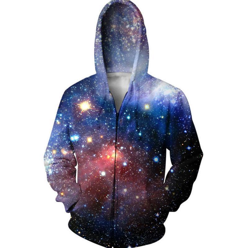 Galaxy 3D Kapüşonlular Fermuar Erkekler Hoody Uzay Bulutsusu Grafik Erkek Kapşonlu Cep Kıyafetler Moda Palto Streetwear Kabanlar Soğuk Tops