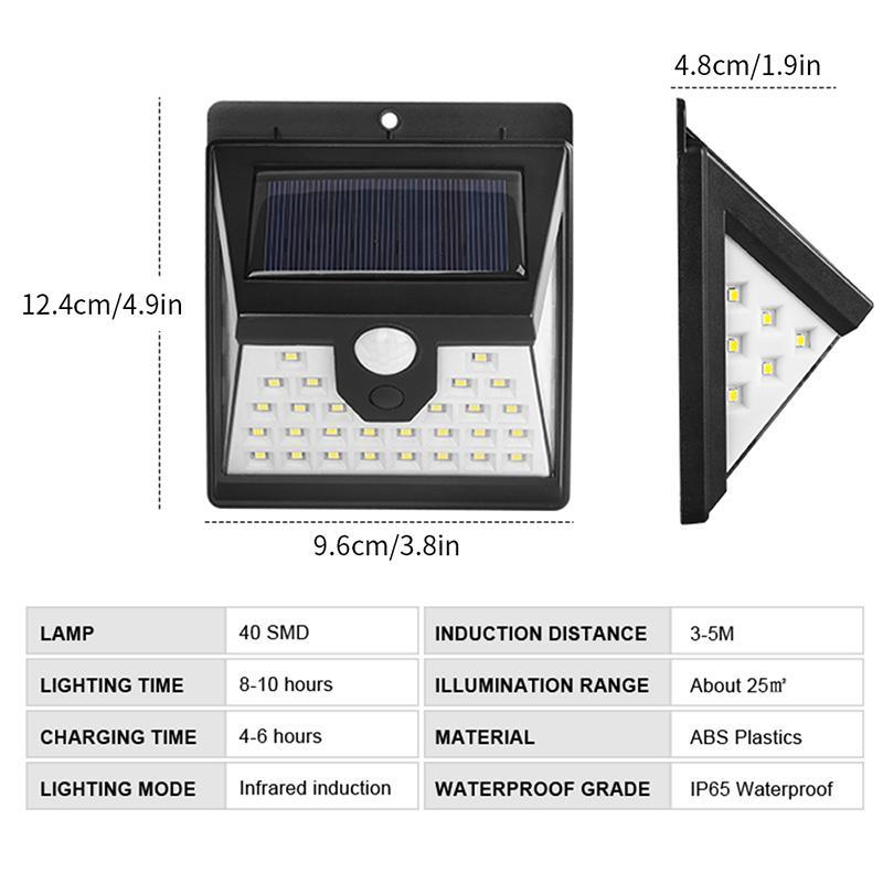 Fábrica wholesale40 LED Solar Jardim luz solar Lâmpada PIR Motion Sensor Solar Powered By luz solar impermeável ao ar livre Wall Street