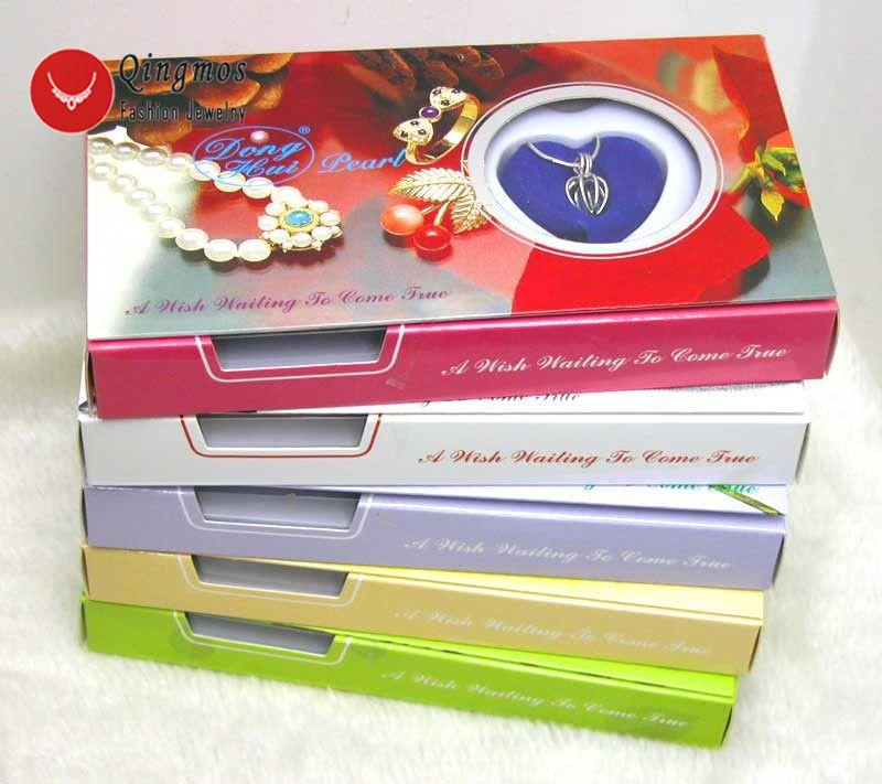 Qingmos 5 cajas Wish Pearl Love Heart Cage Holder Gargantillas collar para las mujeres con colgantes collar de perlas Oyster caja de regalo-3621 J190702