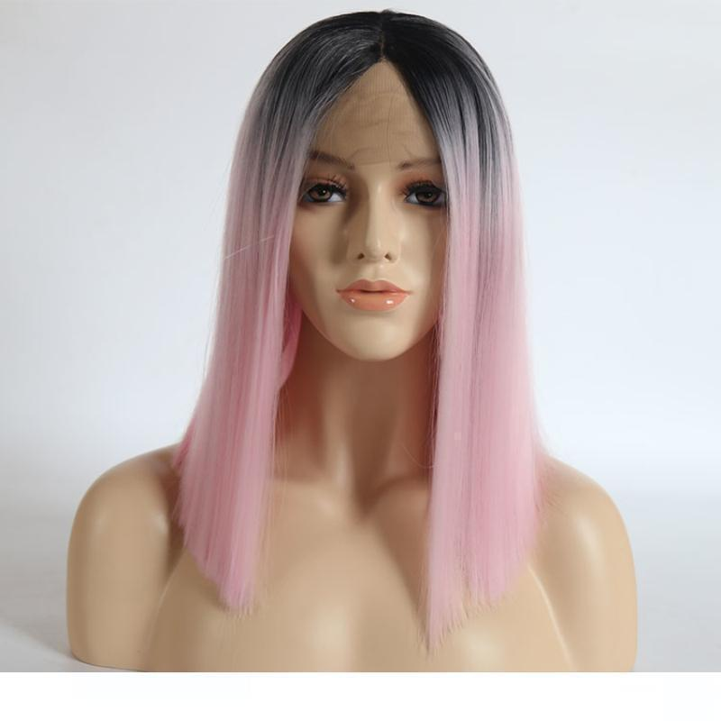 A Short Synthetic Lace Front Wigss Ombre Pink Colored High Temperature Fiber Hair Glueless Bob Synthetic Lace Wigs For White Women
