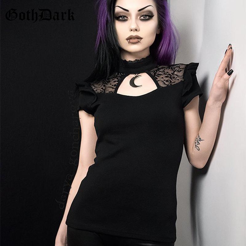 Dark goth estetica elegante foro della maglia T-shirt per le donne Patchwork scava fuori la maglietta dolcevita solido del manicotto della farfalla maglietta Y200110