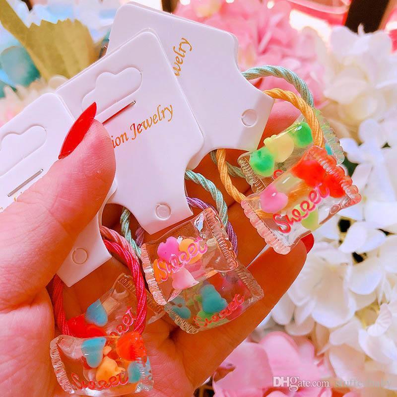 Süße Mädchen scrunchies Acryl-Süßigkeit Babyhaar Krawatten Designer Haarschmuck Kinder Haarband Mädchen hairbands Baby-Zubehör