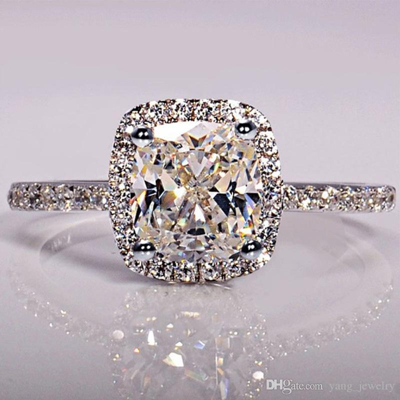 New Trendy Crystal Engagement Claws Design Hot Sale Rings For Women White Zircon Cubic elegant rings Female Wedding Jewelry