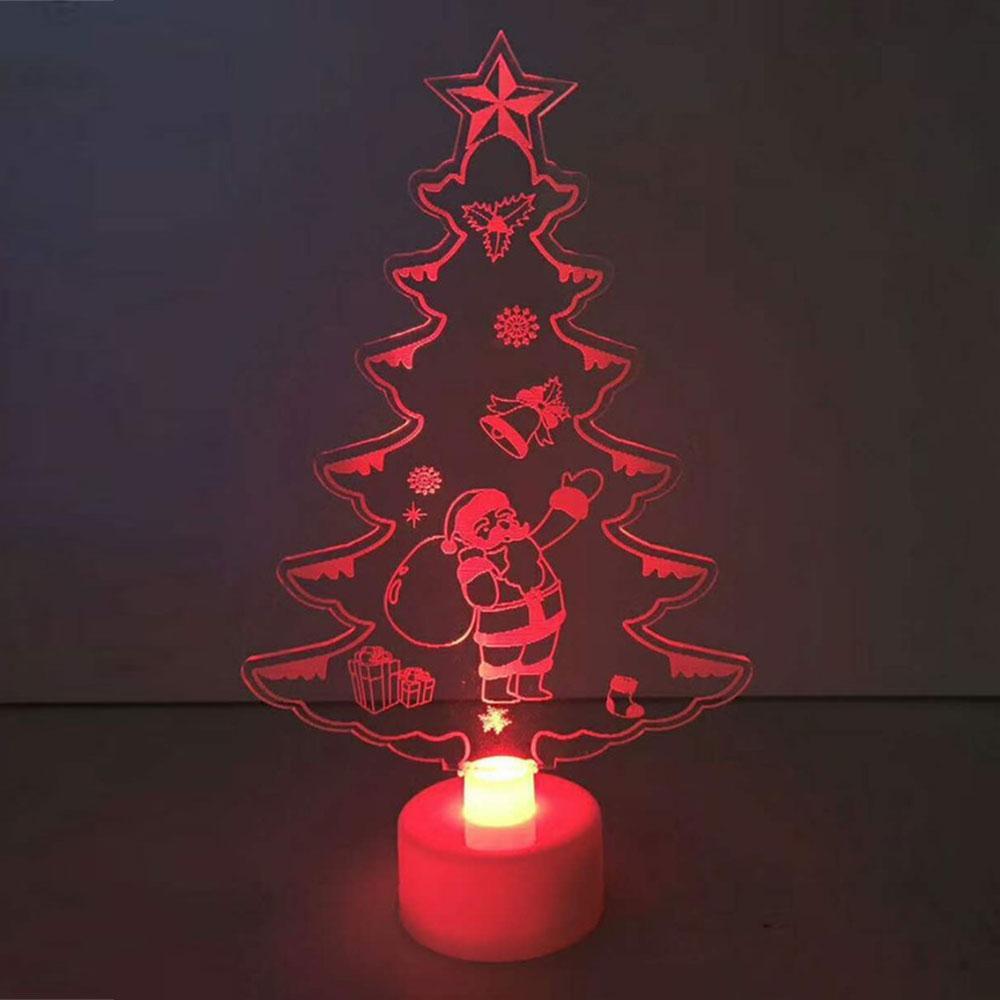 Lampada della luce notturna 15 * 8.8 * 3cm Decorazioni per la tavola Colori durevoli che cambiano gli ornamenti acrilici dell'albero di Natale Mini Drop Shipping
