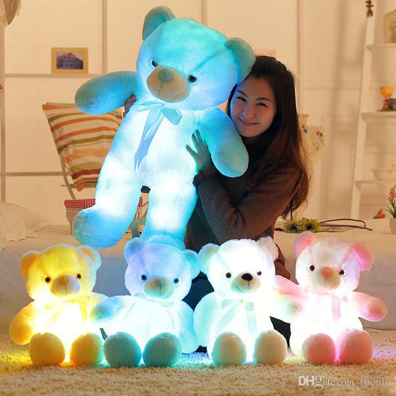 4 Color 30cm 50cm 80cm LED Colorful Glowing Teddy Bear Giant shell giant teddy toy Valentine's Day holiday gift bear Christmas Plush Toys