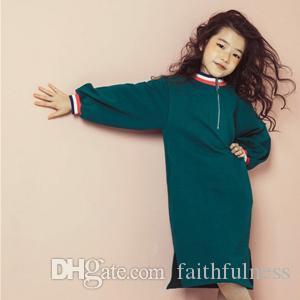 Nuevo otoño bebés de la camiseta de vestido de largo envuelto Niños camisas ocasionales con estilo largo del niño del algodón con capucha