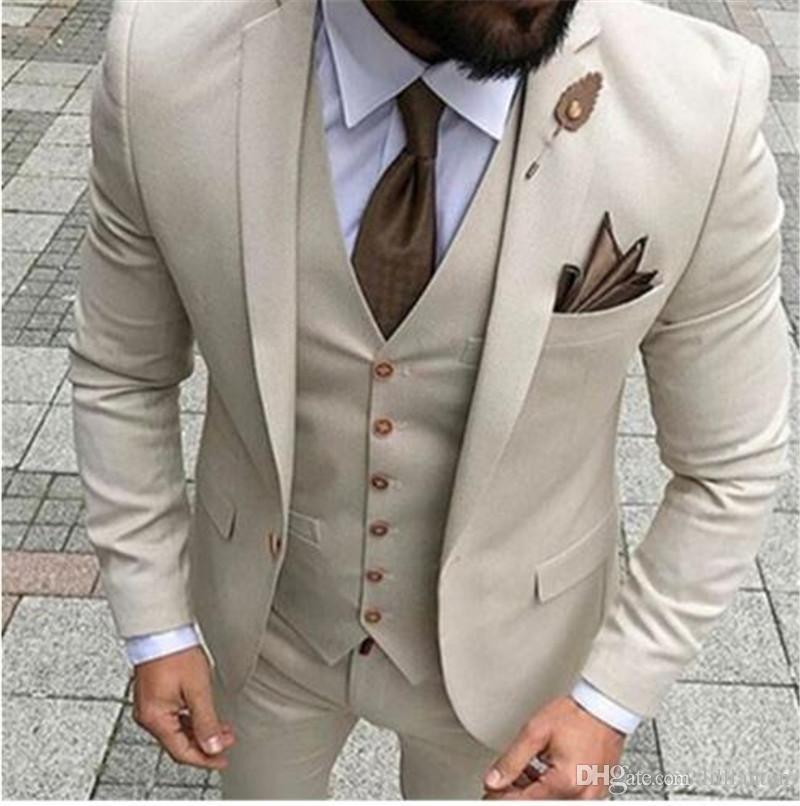 2019 Bej Erkekler Tek Göğüslü Çentikli Yaka Düğün Parti Takım Elbise 3 parça Trim fit erkekler suit damat smokin kostüm Custom Made