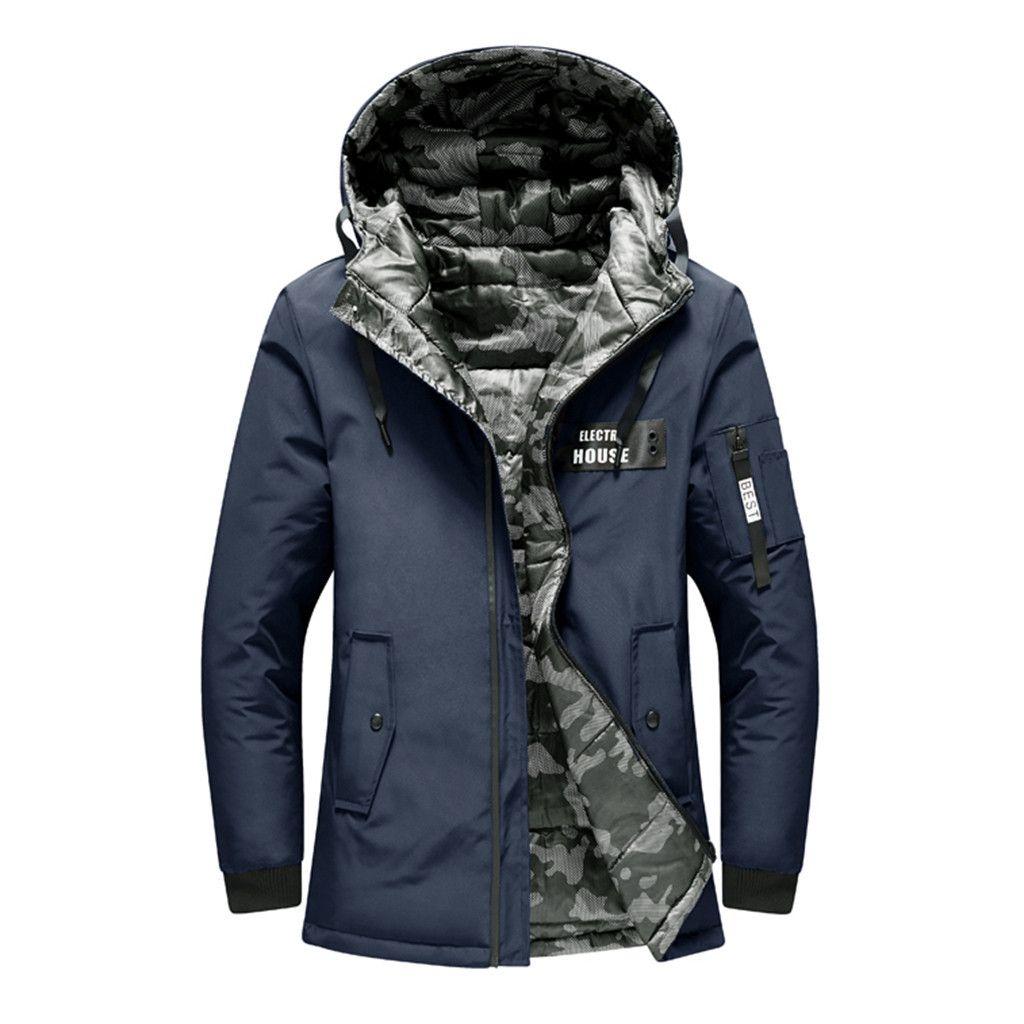 Vêtements à double face hommes veste d'hiver coupe-vent occasionnels vêtements chauds épais manteau d'hiver mens capuchon col Parka Plus la taille