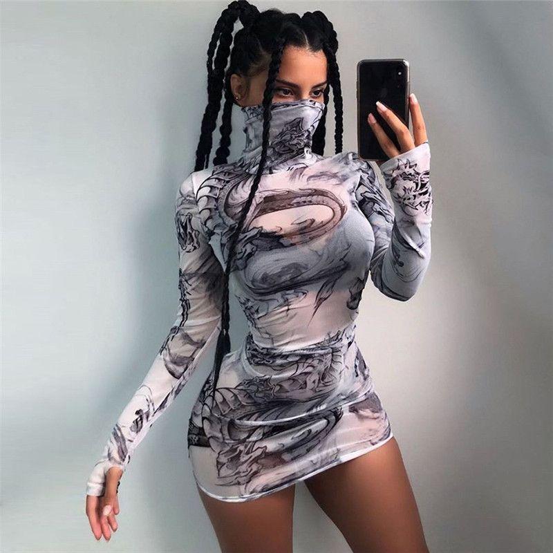 Moda Baskılı Yüksek Boyun Uzun Kollu Örgü Bodycon Elbise See Body Clubwear Için Seksi Güz Elbiseleri