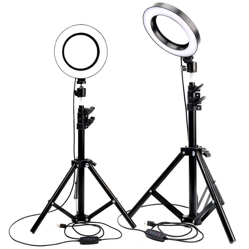 Светодиодное кольцо Light Youtube Live Streaming Makeup Fill Light Selfie Кольцовая лампа Фотографическое освещение с штативным держателем телефона USB Plug