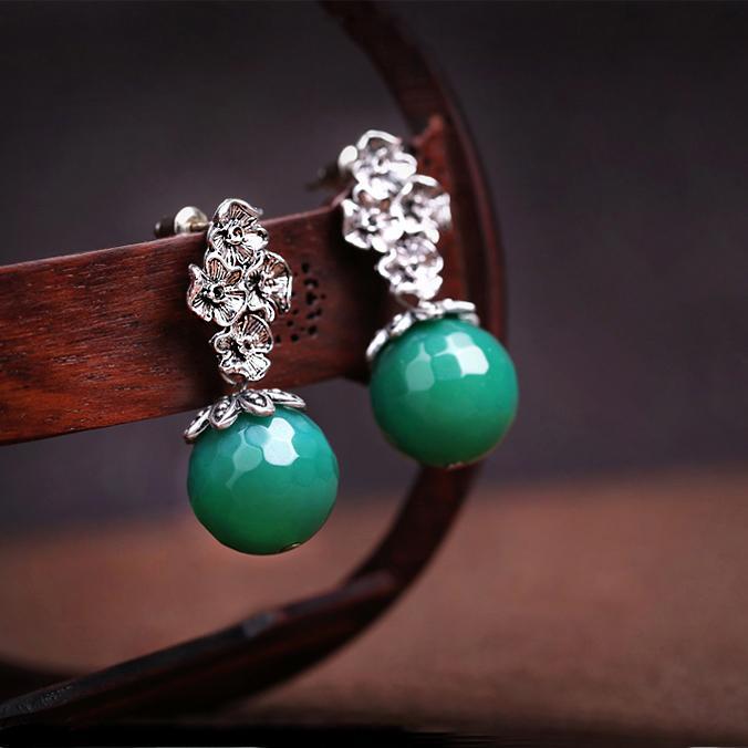 Nouveau Harajuku Pendentif mignon agate verte Boucles d'oreilles pendantes, ronde bijoux en or de la chaîne Punk Métal pour Cool Femmes Amitié fille Cadeaux